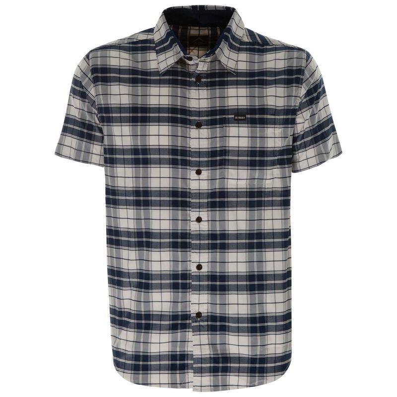 K-Way Men's Explorer Vaillant Short Sleeve Check Shirt  -  white-blue