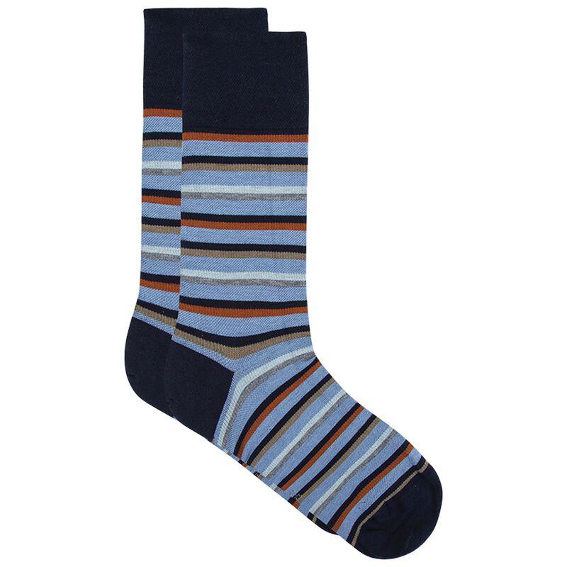 Falke Men's Leisure Classic Stripe Sock -  blue-navy
