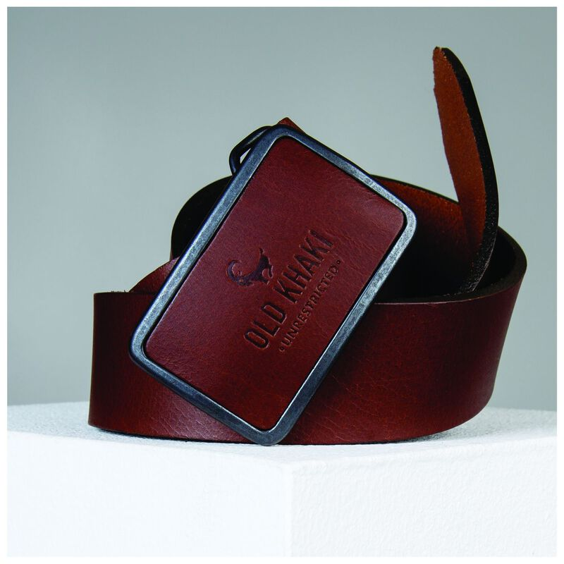 Old Khaki Devin Buckle Detail Leather Belt -  tan