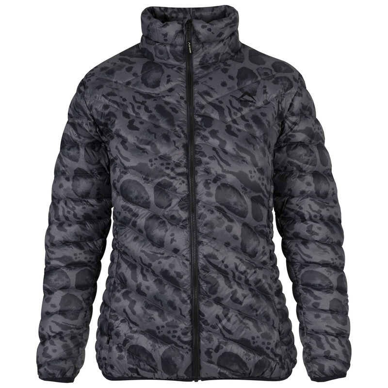 K-Way Women's Printed Tundra Down Jacket  -  charcoal-black