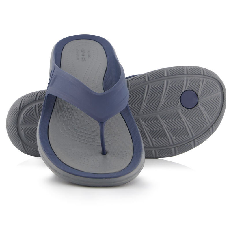 Crocs Men's Swiftwater Wave Flip Sandal  -  navy-charcoal