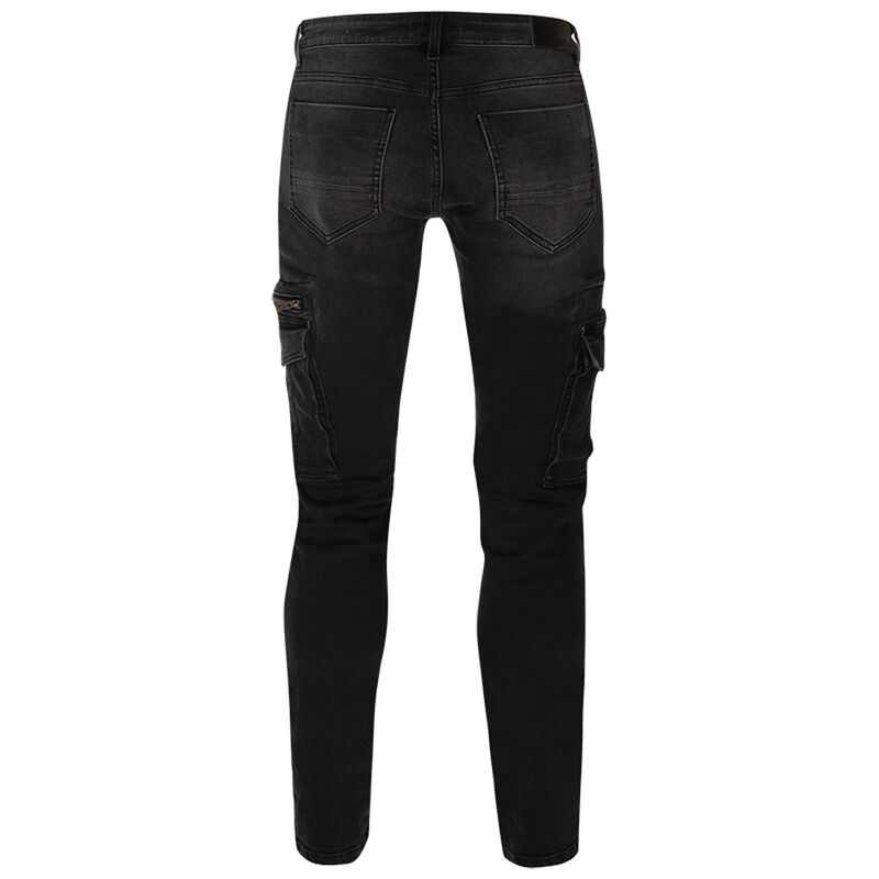 Mayson 47 Men's Narrow Straight Cargo Denims -  black