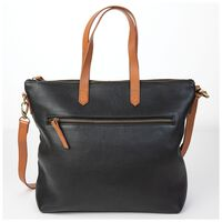 Tatum Leather Shopper -  black-tan