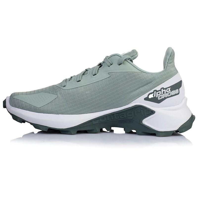 Salomon Women's Alphacross Blast Shoe  -  palegreen-white