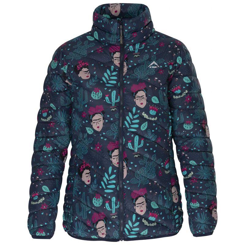 K-Way Women's Printed Tundra Down Jacket -  navy-teal