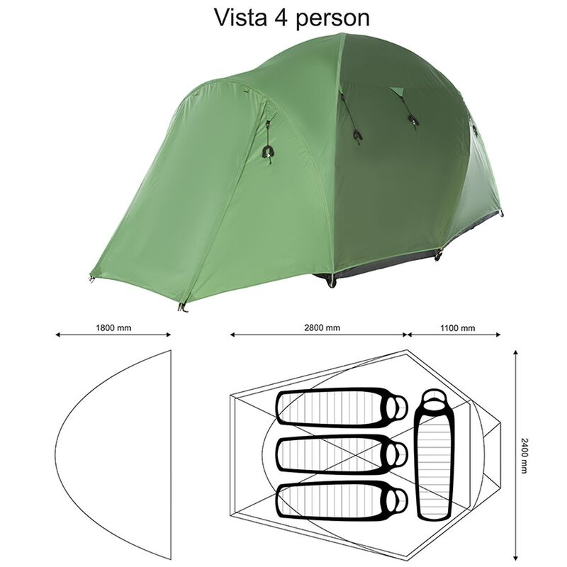 K-Way Vista 4 Person Tent -  green