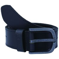Ezra Border Stitch Detail Leather Belt -  black-black