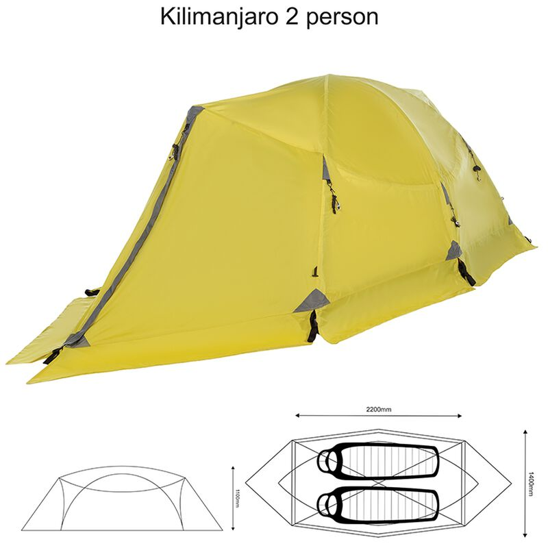 K-Way Expedition Series Kilimanjaro 2 Person Tent -  lime-charcoal