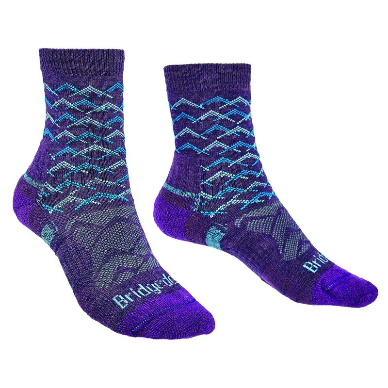 Bridgedale Women's Hiking Lightweight Endurance Sock -  purple-aqua