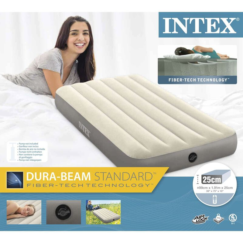 Intex Deluxe Single-High Dura-Beam Airbed -  white-grey