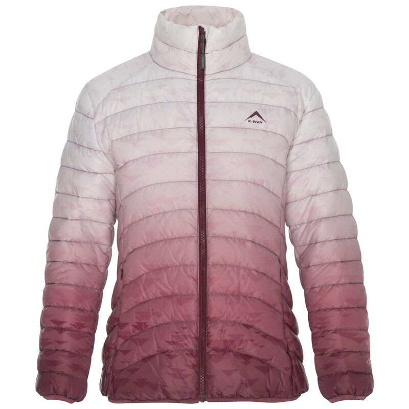 K-Way Women's Fern Printed Ombre Down Jacket -  oxblood-white