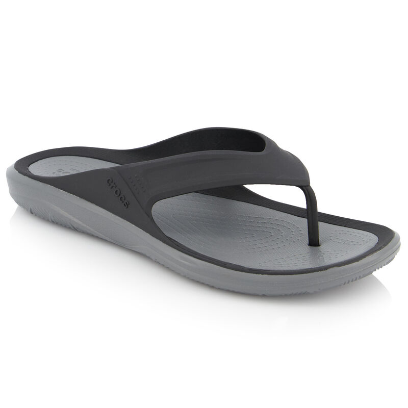 Crocs Men's Swiftwater Wave Flip Sandal  -  black-charcoal