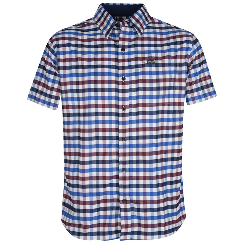 K-Way Men's Explorer Vaillant Short Sleeve Check Shirt  -  blue-burgundy