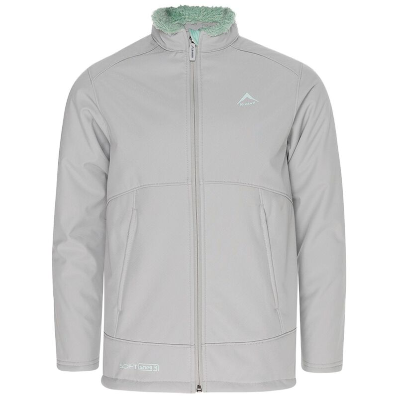 K-Way Kids Lynx 3-Ply Sherpa Softshell Jacket -  lightgrey-mint